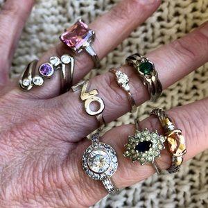 Jewelry - Costume Jewelry Rhinestone Cocktail Ring LOT